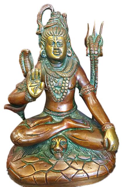 Mogul Interior Seated Shiva Statue Brass Idol Religious