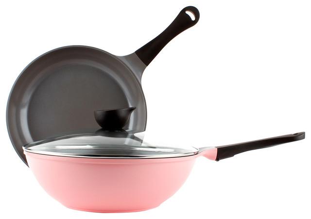 Neoflam Eela 3 Piece Ceramic Nonstick Cookware Set, Pink.