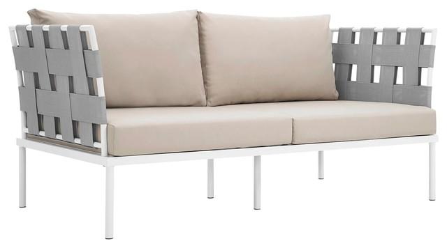 Modern Contemporary Urban Outdoor Patio Loveseat Sofa, Beige White, Rattan
