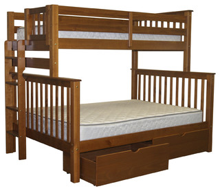 Bunk Beds Twin over Full End Ladder Expresso and Drawers