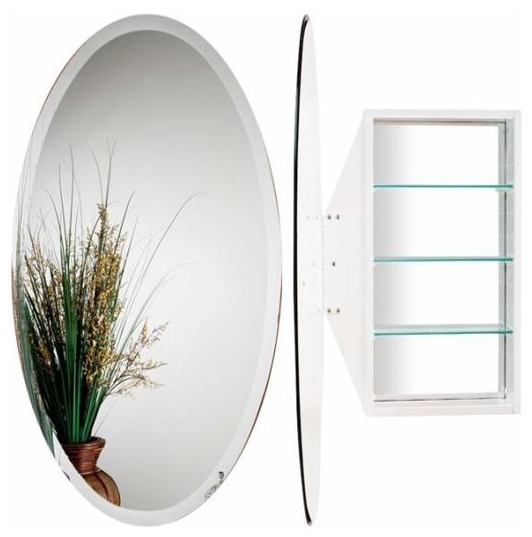 Alno Creations Oval Mirror Cabinet White Mc4910 W