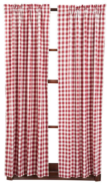 Buffalo Red Check Short Panel, Set Of 2.
