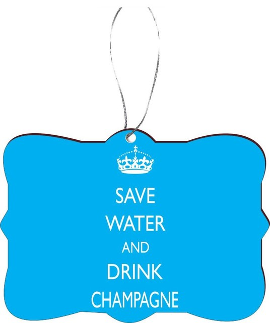 Christmas Tree Drinking Water: Save Water Drink Champagne Sky Blue Rectangle Design