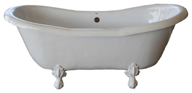 "Dutchess 68"" Double Slipper White Clawfoot Tub With White Feet."
