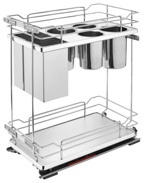 Two-Tier Knife Organizer with Blum Soft-Close, Gray