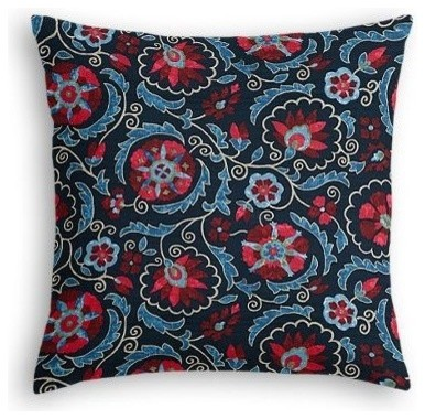 red and navy blue suzani euro sham simple eclectic pillowcases and shams by loom decor. Black Bedroom Furniture Sets. Home Design Ideas