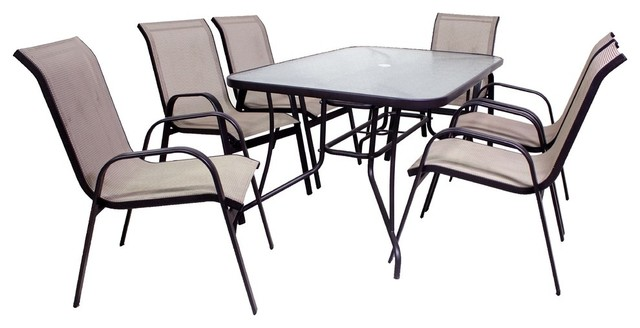 Madelline 7 Piece Glass Top Dining Set
