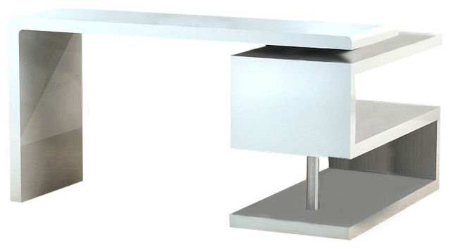 A33 Modern Office Desk In White Lacquer Finish.