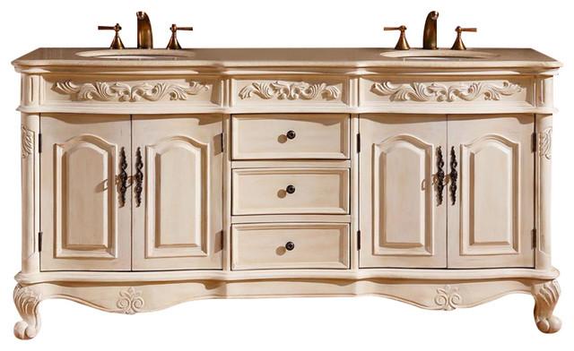 Silkroad Exclusive 72 Antique White Double Bathroom Sink Faucet Bowl Vanity Set
