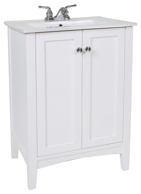 "Mod Single Bathroom Vanity Set, White, 24""."