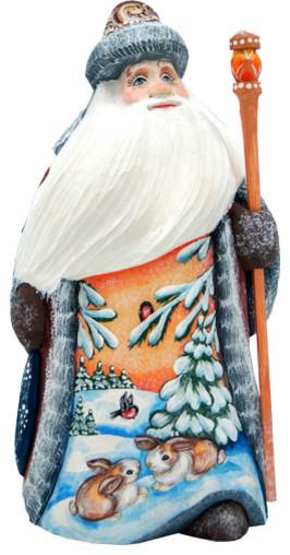 Bunny Friends Santa, Woodcarved Figurine.