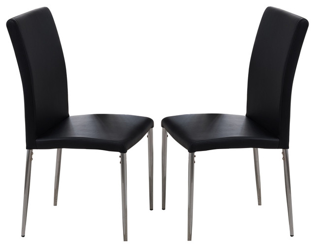 Enjoyable Vestavia Dining Parsons Chairs Black Vinyl Chrome Metal Legs Set Of 2 Gmtry Best Dining Table And Chair Ideas Images Gmtryco
