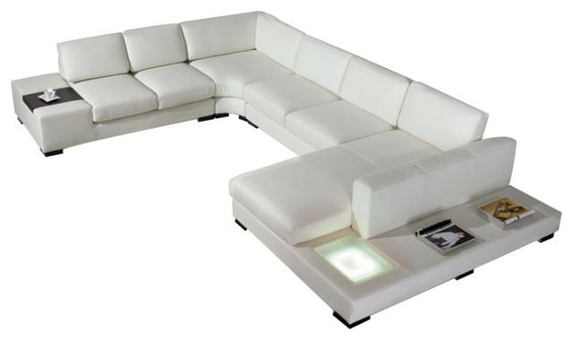 VIG Divani Casa Modern Bonded Leather Sectional Sofa, White - Modern ...