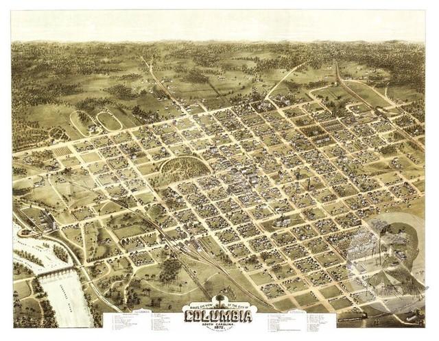 Vintage South Carolina Map.Historic Columbia Sc Map 1872 Vintage South Carolina Art Print