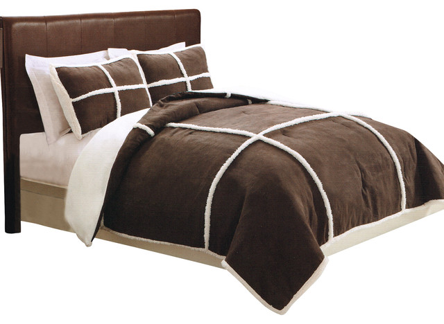 Microsuede Sherpa Chocolate Comforter Set With Shams