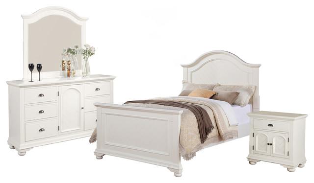 Addison 4 Piece Bed Set Full White