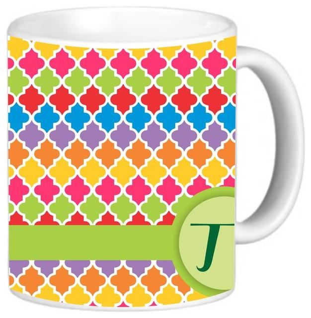 Houzz Spring Landscaping Trends Study: Vibrant Spring Geometric Monogrammed Coffee Mug