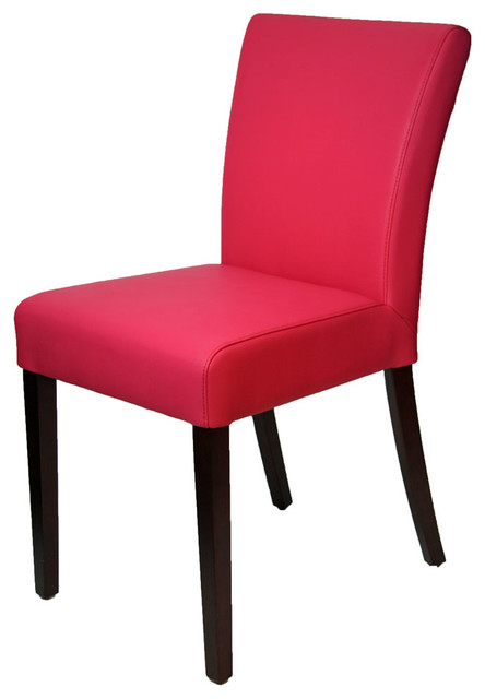 pink leather dining room chair, low back - contemporary - dining
