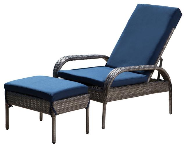 Pleasant Abbyson Living Shermans Wicker Adjustable Chaise And Ottoman Set Gray Navy Machost Co Dining Chair Design Ideas Machostcouk