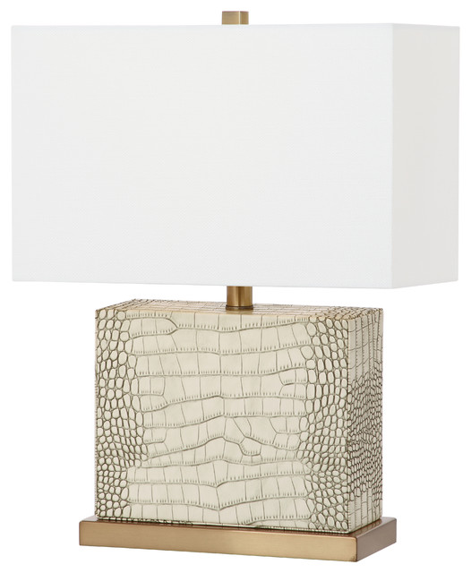 Safavieh Delia 20.5-Inch High Faux Alligator Table Lamp.