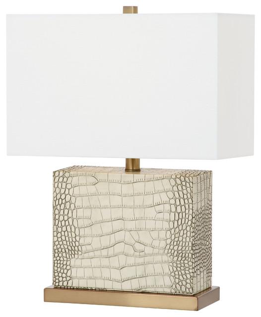 Safavieh Delia 20.5-Inch High Faux Alligator Table Lamp