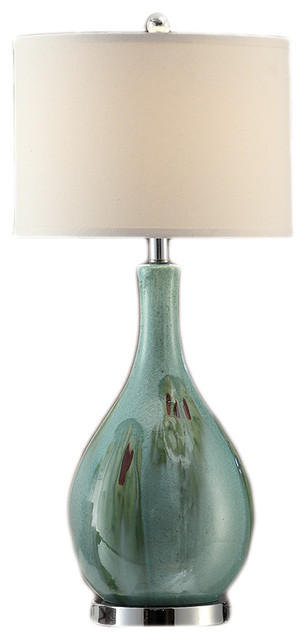 "Sea Breeze Ceramic And Metal Table Lamp 28""  Cream Linen Shade."
