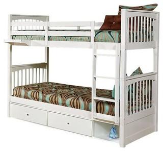 Larkin Twin over Twin Bunk Bed, Crisp White, Storage Drawers
