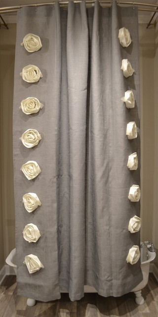 gray burlap rose 72x96 shower curtain by emdee