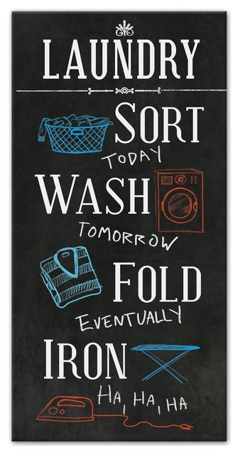 The Laundry Instructions Canvas Wall Art 10x20 Contemporary
