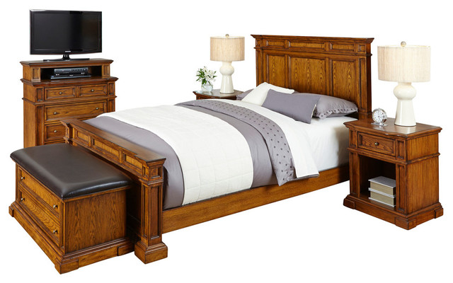 americana king bed 2 nightstands media chest and