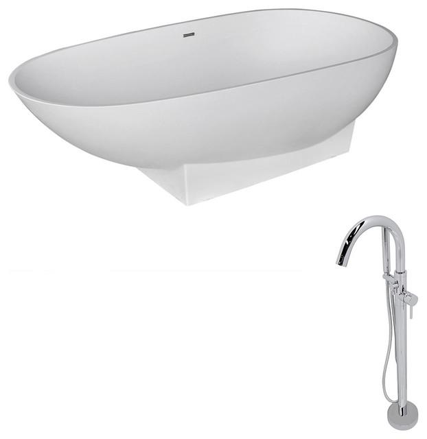 ANZZI Volo 5.9 ft. ANZZI Stone Freestading Bathtub and Kros Faucet