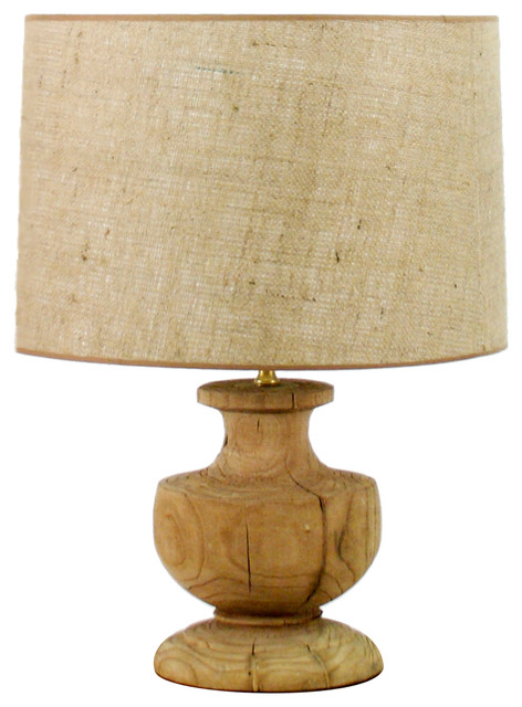 Hudson French Country Solid Oak Urn Lamp Traditional Table Lamps