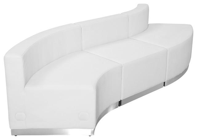 3-Piece Hercules Alon Series Leather Configuration, White.