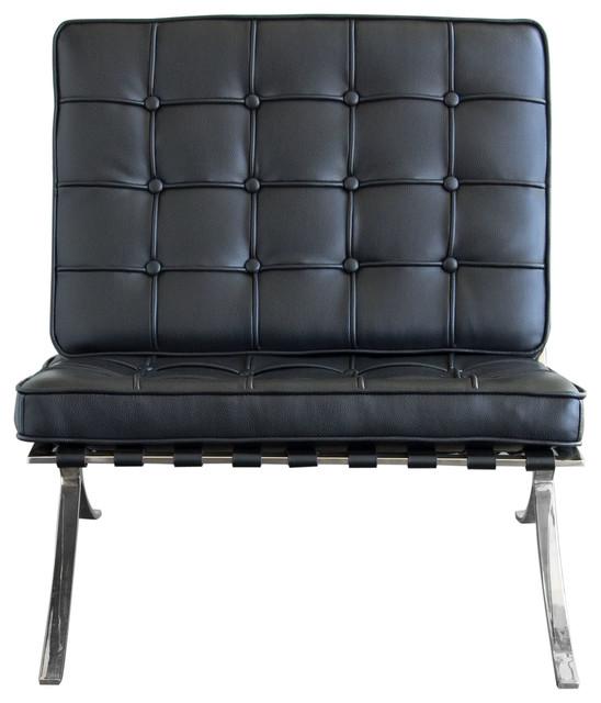 Cordoba Tufted Chair With Stainless Steel Frame by Diamond Sofa, Black by Diamond Sofa