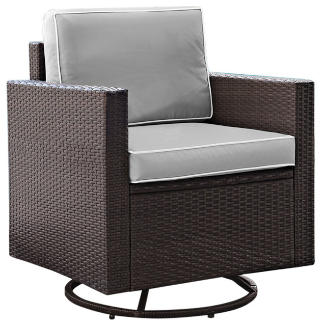 quality design 475d9 e0a53 Palm Harbor Outdoor Wicker Swivel Rocker Chair, Cushions: Gray