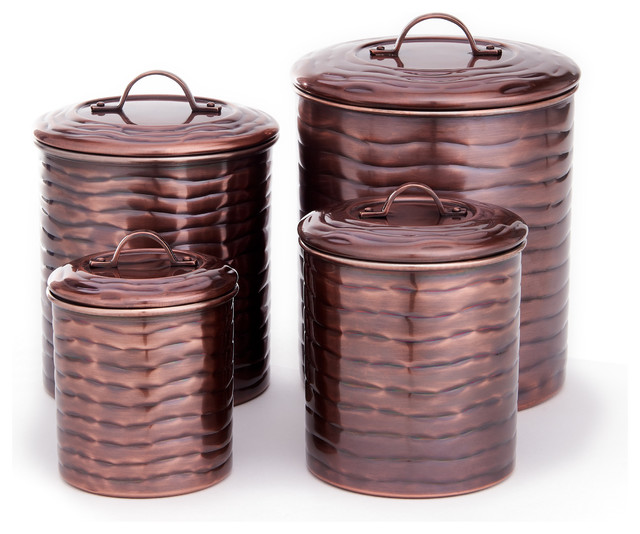 4 Piece Wave Canister Set Fresh Seal Covers 4 Qt 2 Qt 1 Qt Traditional Kitchen Canisters And Jars By Old Dutch