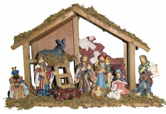Shop Houzz Kurt S Adler Inc Wooden Stable Nativity 10 Piece Set Holiday Accents And Figurines