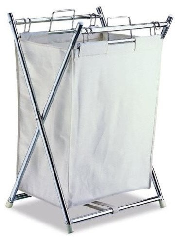 Folding Hamper Canvas Pull-Out Bag In Chrome Plate.