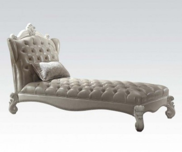 Versailles Vintage Gray Pu Amp Bone White Chaise W Pillow