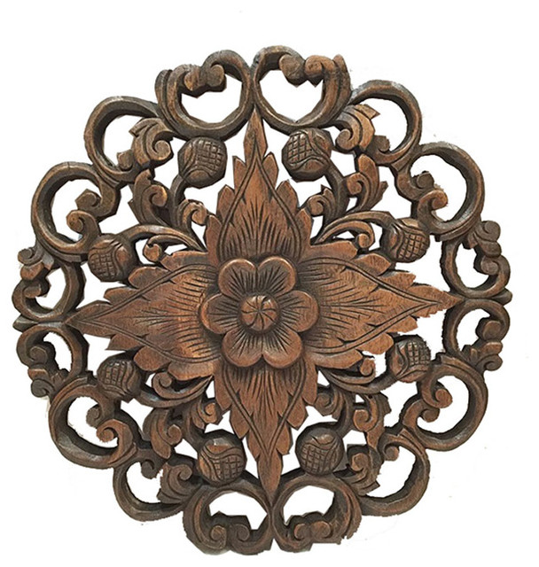 asiana home decor oriental carved lotus round wood plaque wall sculptures