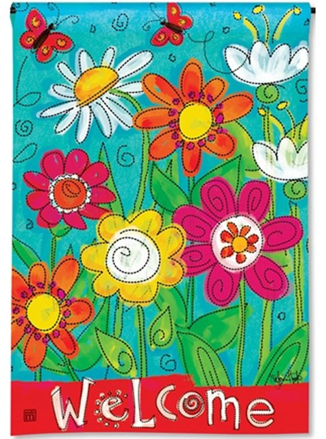 BreezeArt Butterflies in Check Garden Flag