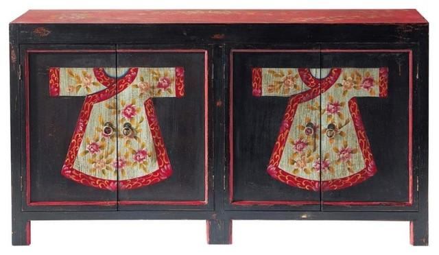Credenza Bassa Fai Da Te : Credenza nera e rossa a motivi in legno l cm kimono