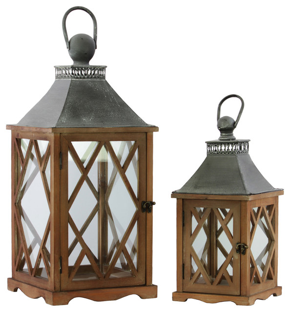 Urban Trends Wood Square Lanterns With Diamond Side Design 2 Piece Set Brown Traditional Candleholders By Virventures