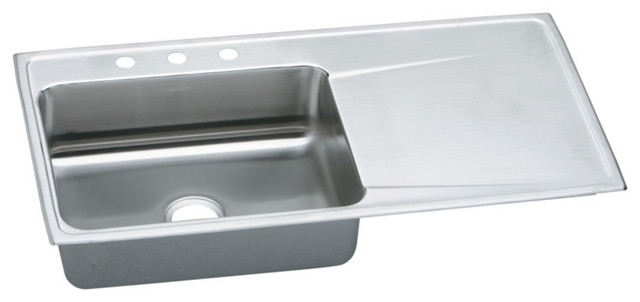 "Elkay Lustertone Stainless Steel 43""x22""x7-5/8"" Sink With Drainboard ILR4322L4"