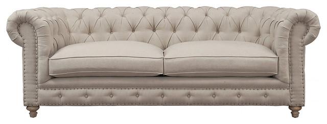 TOV Furniture Oxford Linen Sofa, Beige