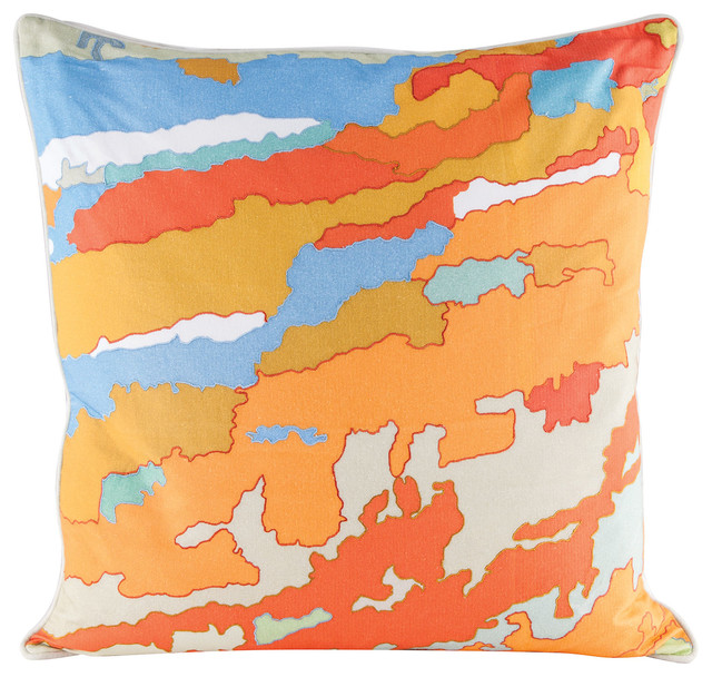 Goose Down Throw Pillows : ELK Group International Dimond Home Orange Topography Pillow with Goose Down Insert - Decorative ...