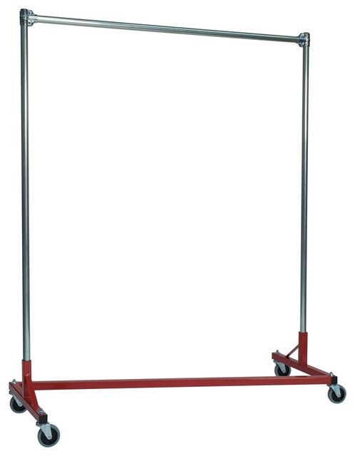 Portable Clothing Rack, Red, Silver Rack.