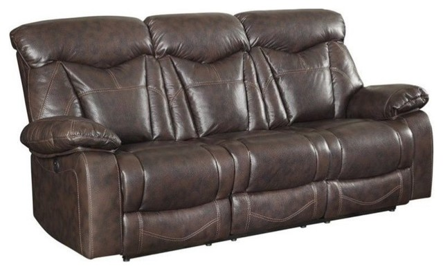 Fantastic Coaster Zimmerman Faux Leather Power Reclining Sofa In Dark Brown Gmtry Best Dining Table And Chair Ideas Images Gmtryco