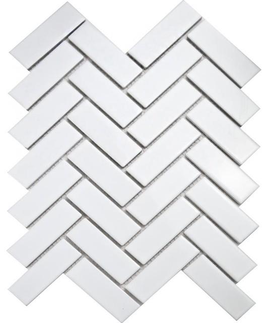 Herringbone Mosaic Tiles, 1 Sheet, White Gloss
