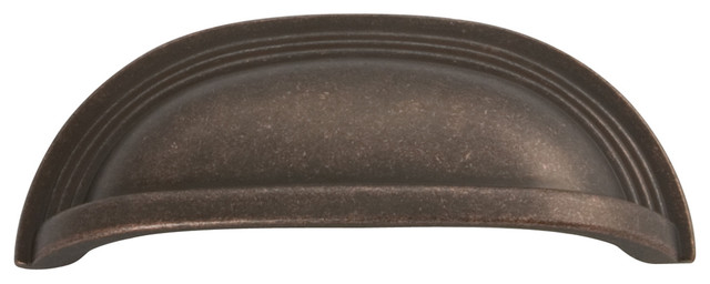 Hickory Hardware 96mm Deco Dark Antique Copper Cabinet Cup Pull  Transitional Cabinet And